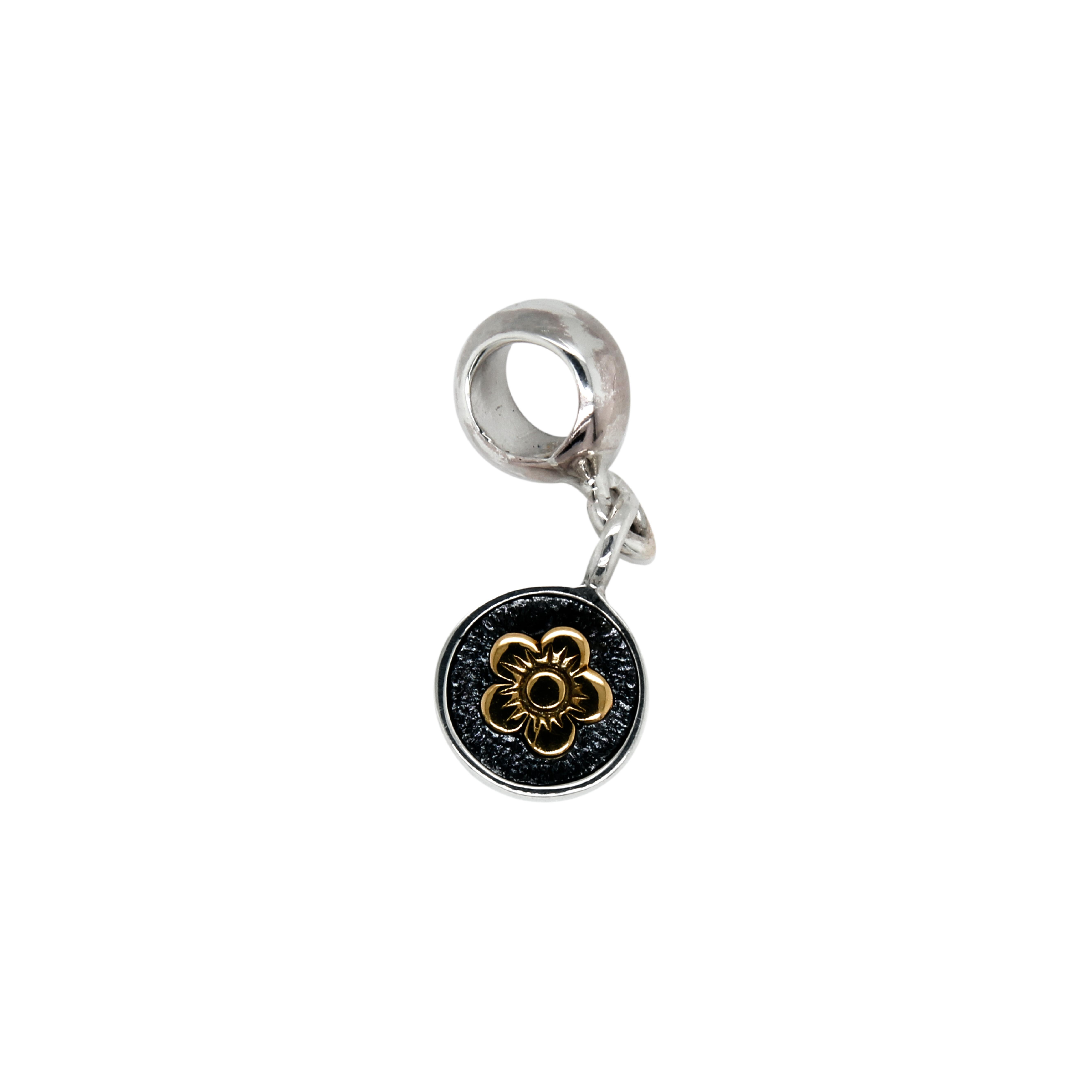 Charm de Plata .925 con una flor de Oro 14k