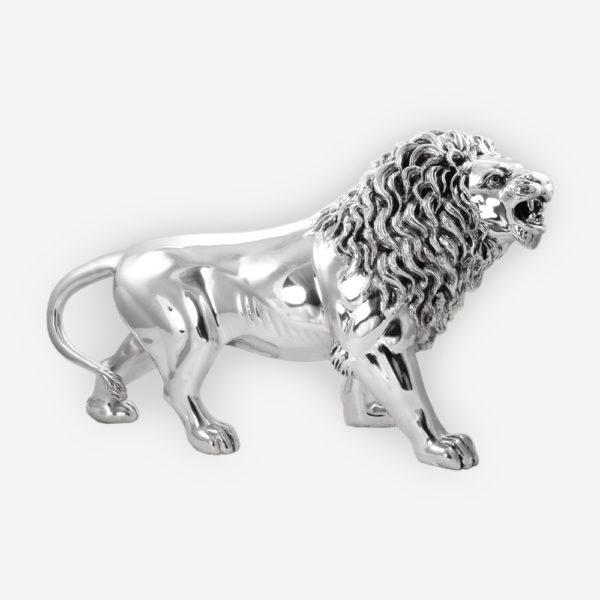 Escultura en Plata de un León Salvaje hecha mediante proceso de electroformado.