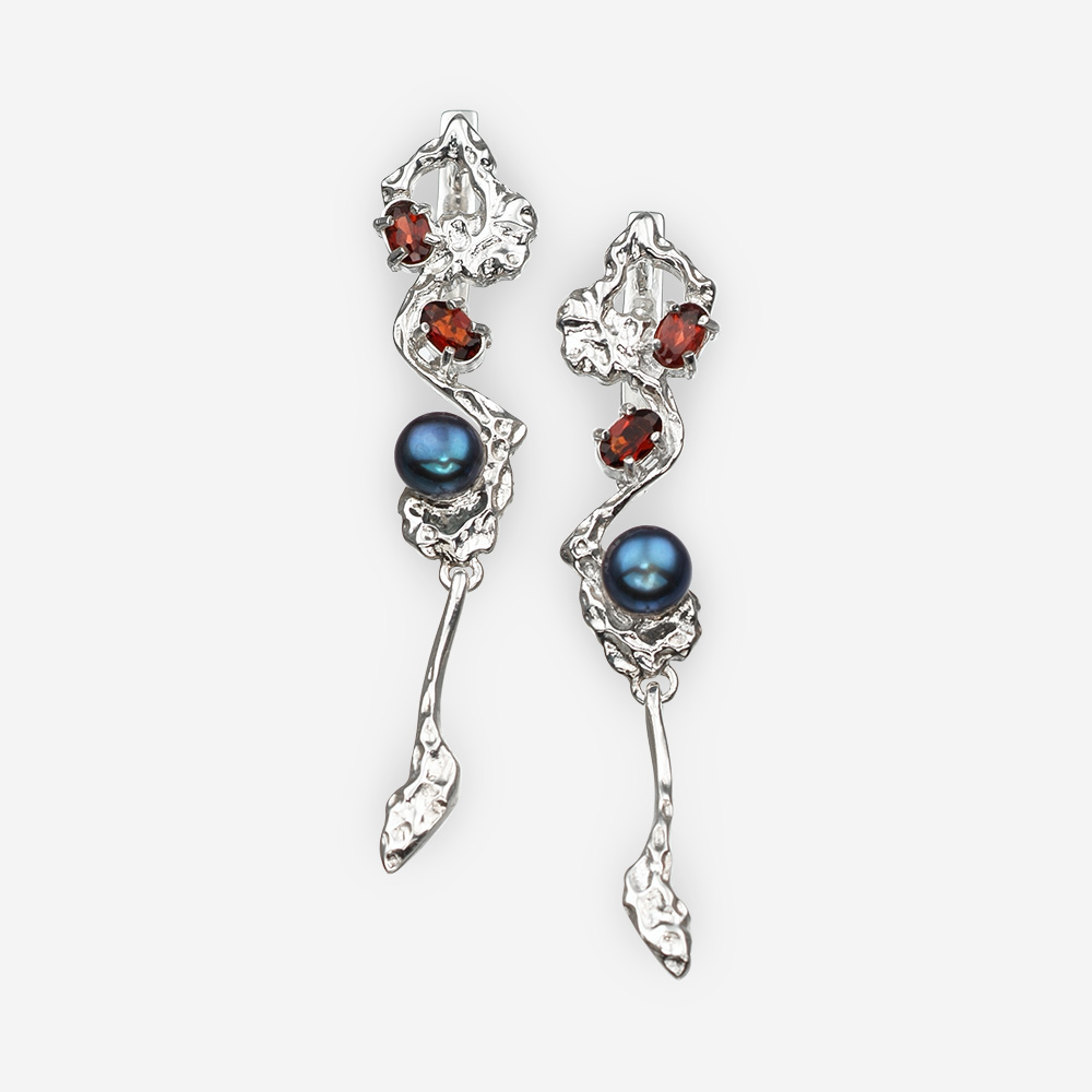 Art Deco silver earrings with garnet and black pearls made from sterling silver.