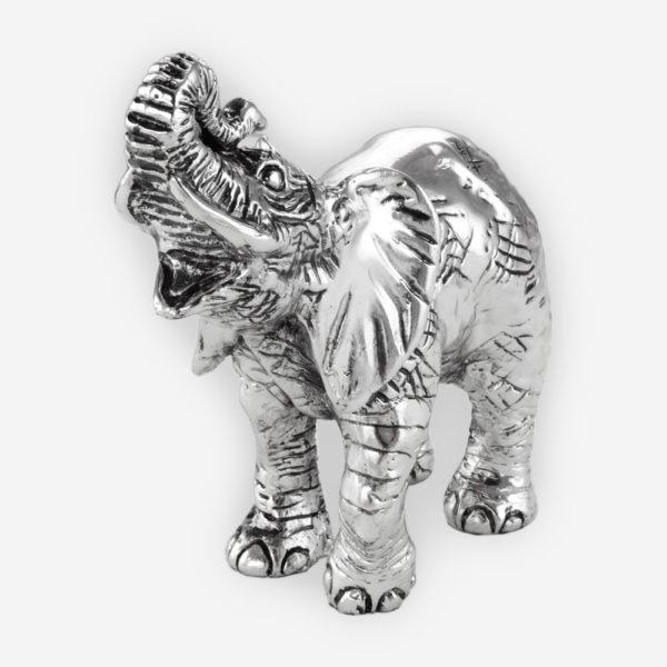 Escultura en Plata de  un Elefante de la Suerte, hecha mediante proceso de electroformado.