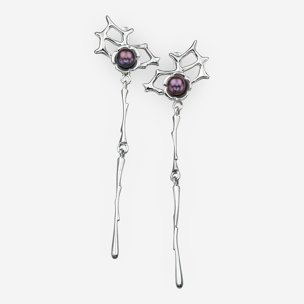 Black pearl silver dangle earrings with lever back closures.