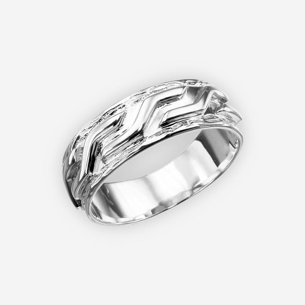 Anillo de plata unisex audaz que ofrece el diseño esculpido hecho a mano de la plata fina 925.