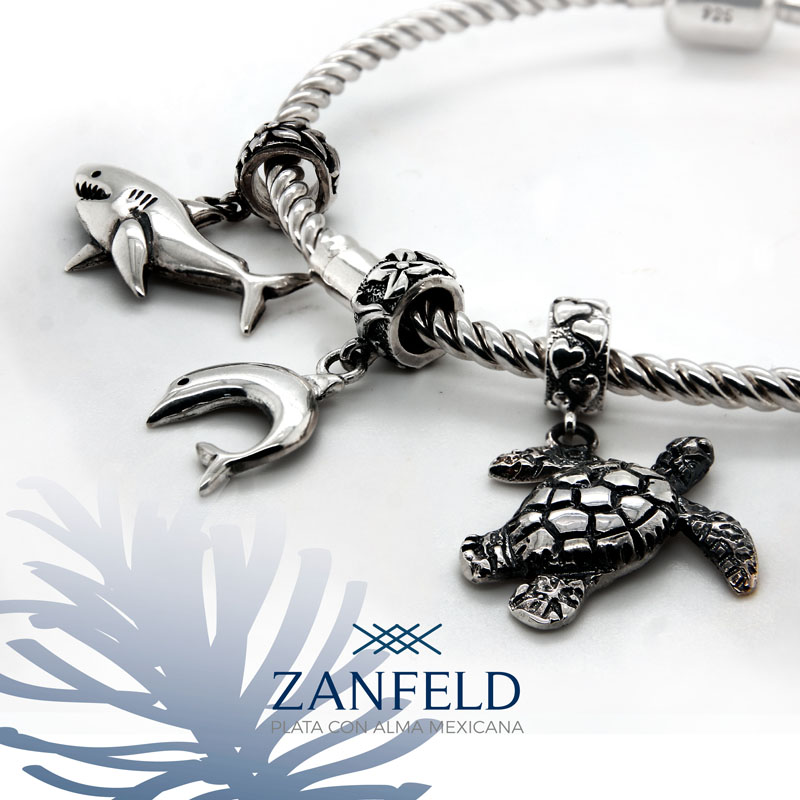 Sterling Silver Cable Bracelet  with sea life Charms for display