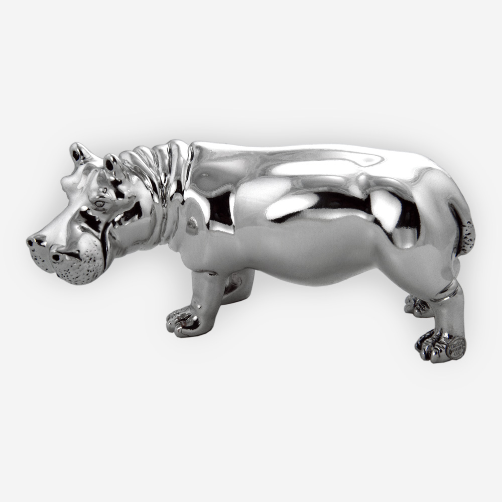 Electroformed silver hippo sculpture featuring a silver plated form with polished finish.