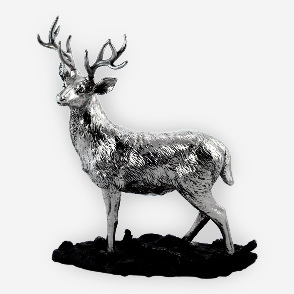 Electroformed silver stag sculpture with a silver plated oxidized finish