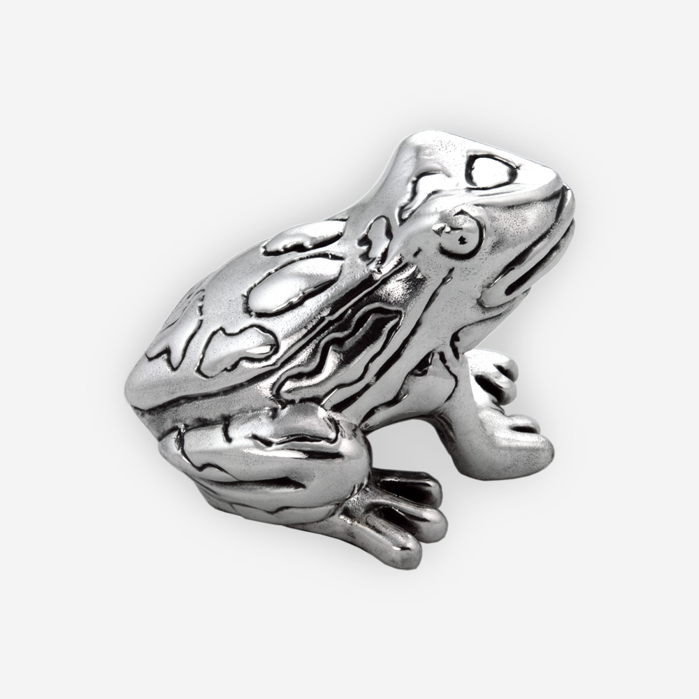 Electroformed Small silver toad sculpture with contrasting oxidized and polished finishes
