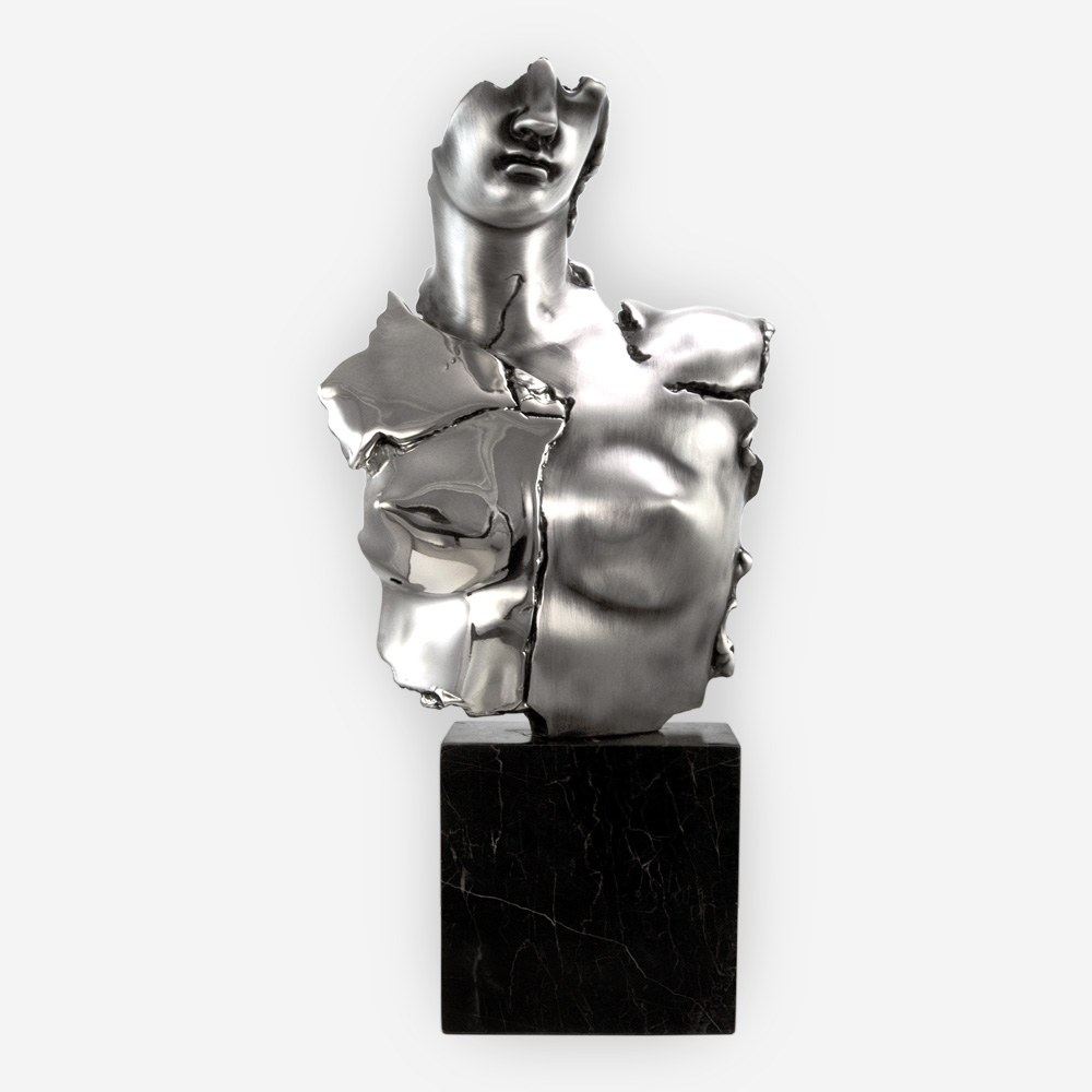 Moderna Escultura de La Diosa Griega Afrodita, hecha mediante proceso de electroformado en Plata.