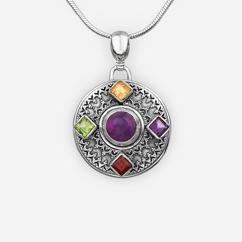 Pendiente exótico con piedras preciosas hecho de plata fina .925.