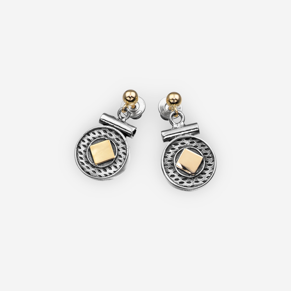 Two tone sterling silver drop earrings with geometric elements and gold accents with 14k gold posts.