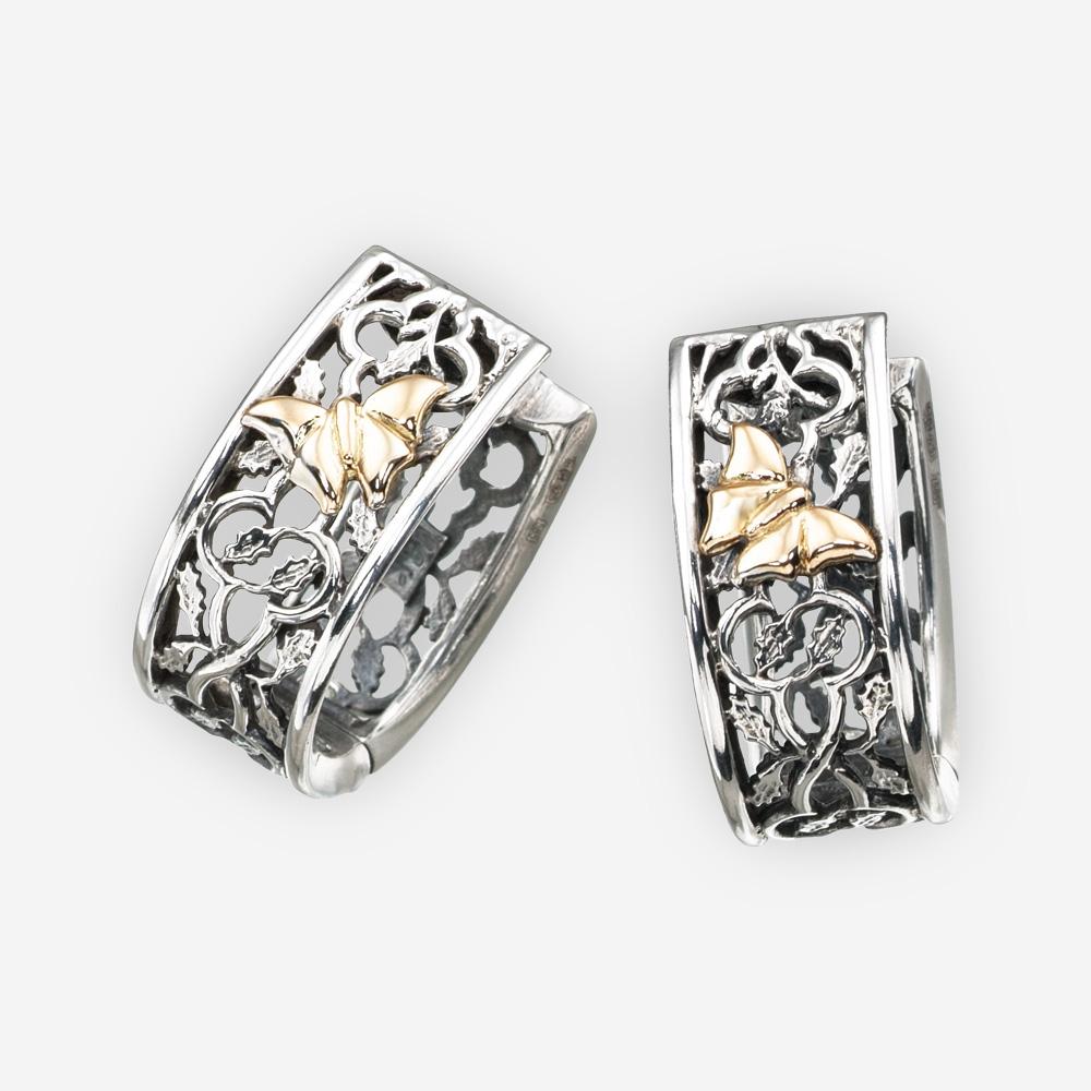 Aretes abiertos de plata con mariposa dorada hechos de plata fina 925 y oro 14k.