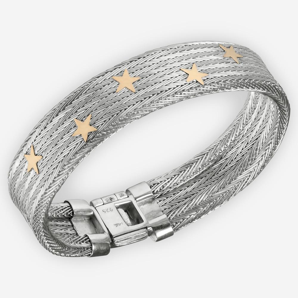 Brazalete tejida a mano con diseño de arenque hecha a mano de plata fina .925 con estrellas de oro de 14k.