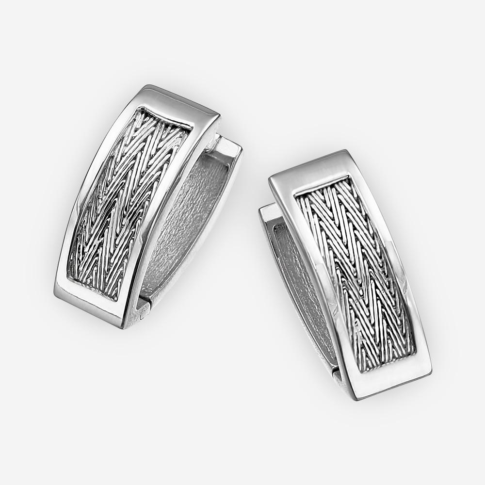 Aretes de plata hechos a mano de arenque en plata fina .925 con cadena tejida a mano de arenque.