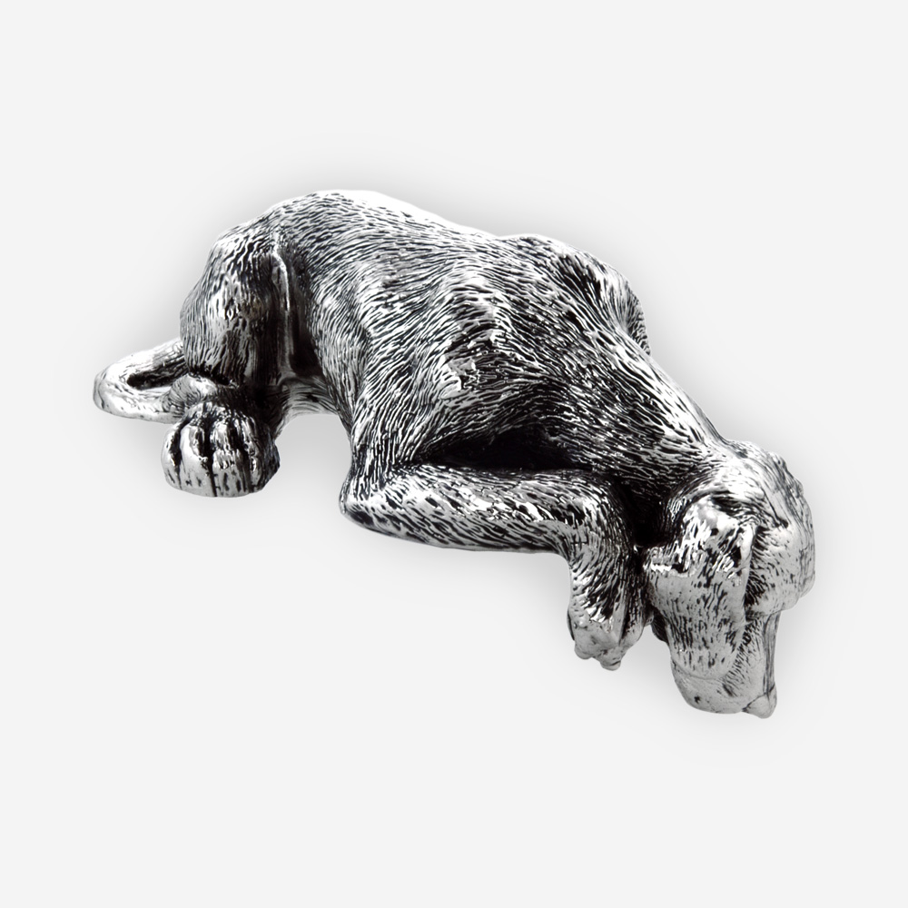 Man's best friend silver sculpture is a silver plated electroformed sculpture with oxidized finish
