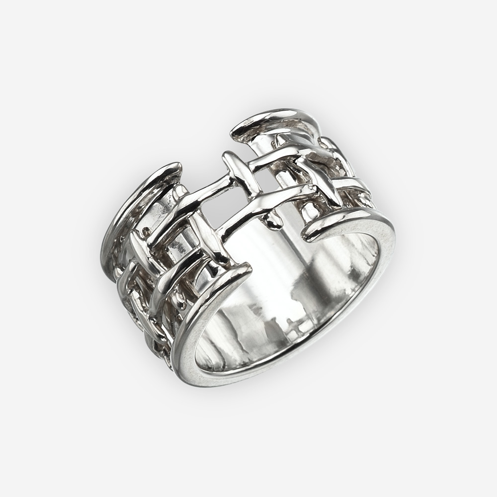 Modern silver woven rope ring crafted from 925 sterling silver.