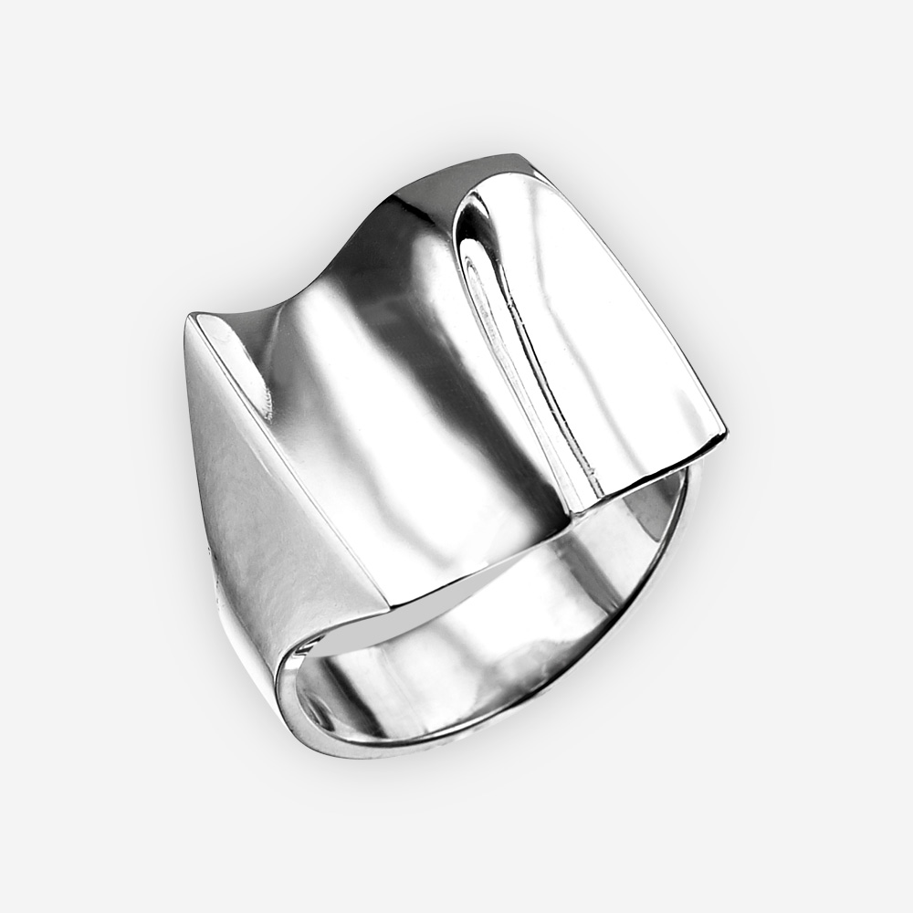 Modern wave silver cocktail ring crafted from 925 sterling silver.