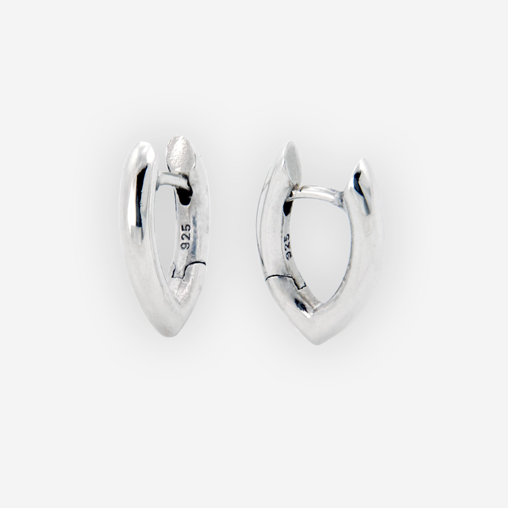 Plain silver pointed hoop earrings are crafted in 925 sterling silver with huggie closures.