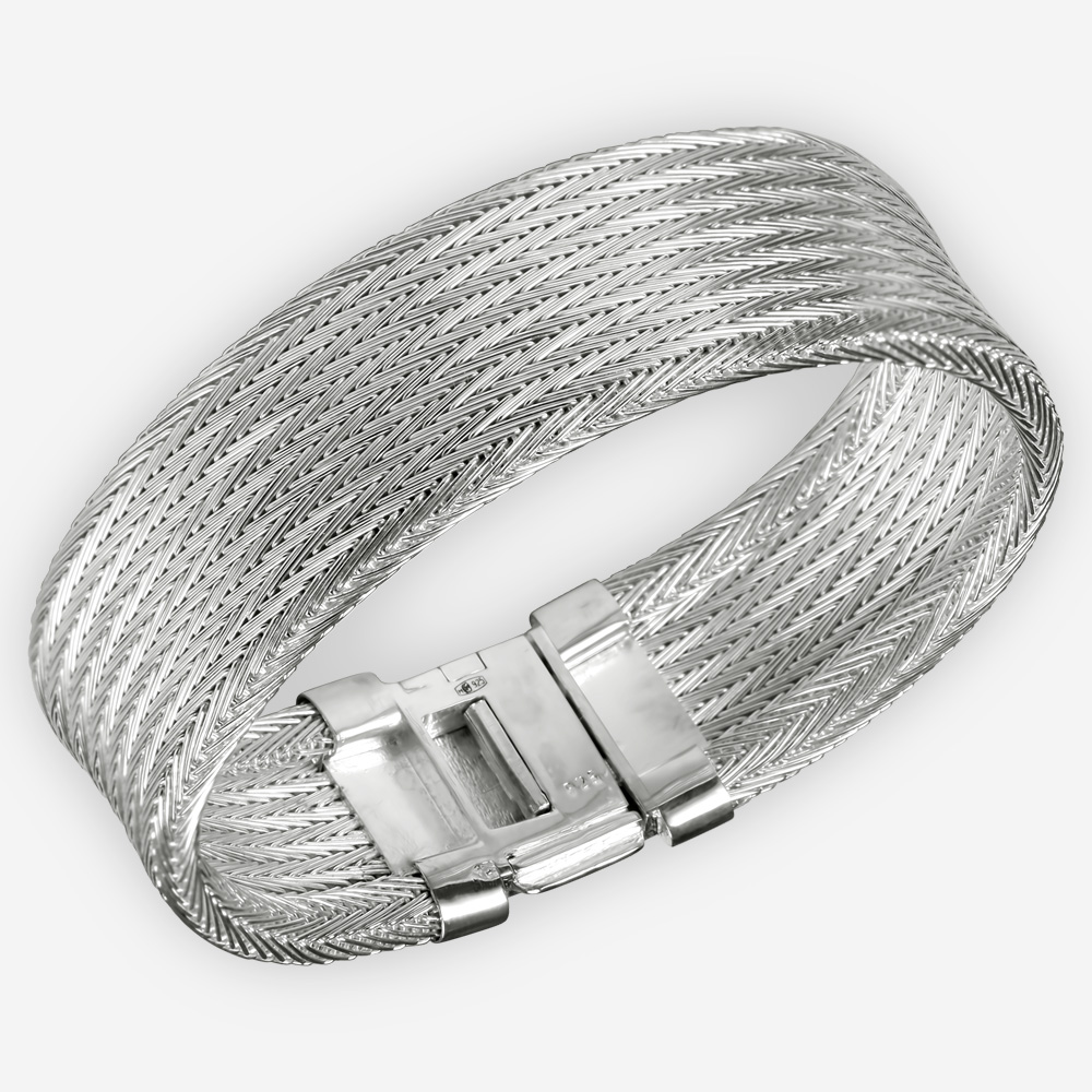 Handwoven sterling silver cuff crafted from 925 sterling silver.