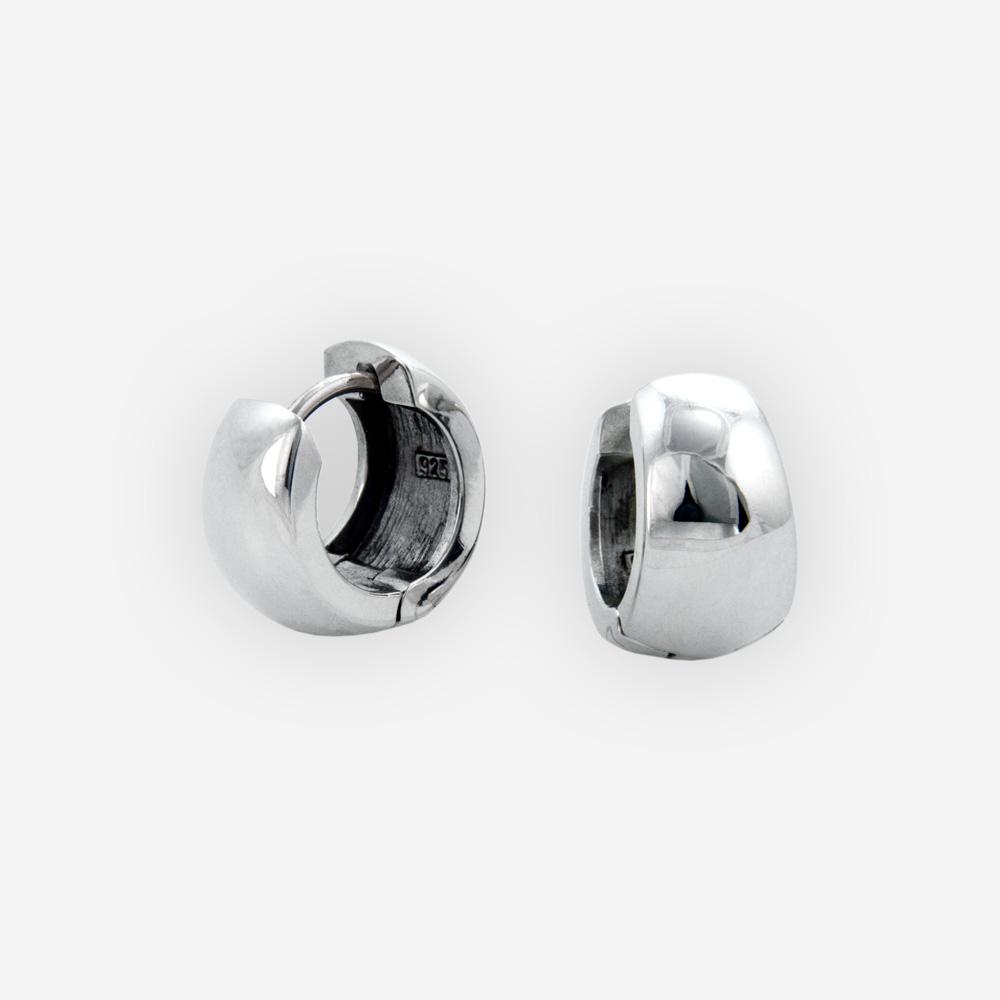 Polished sterling silver hoop earrings with huggie closure