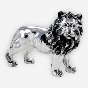 Regal lion silver sculpture is crafted with electroforming techniques and dipped in sterling silver.
