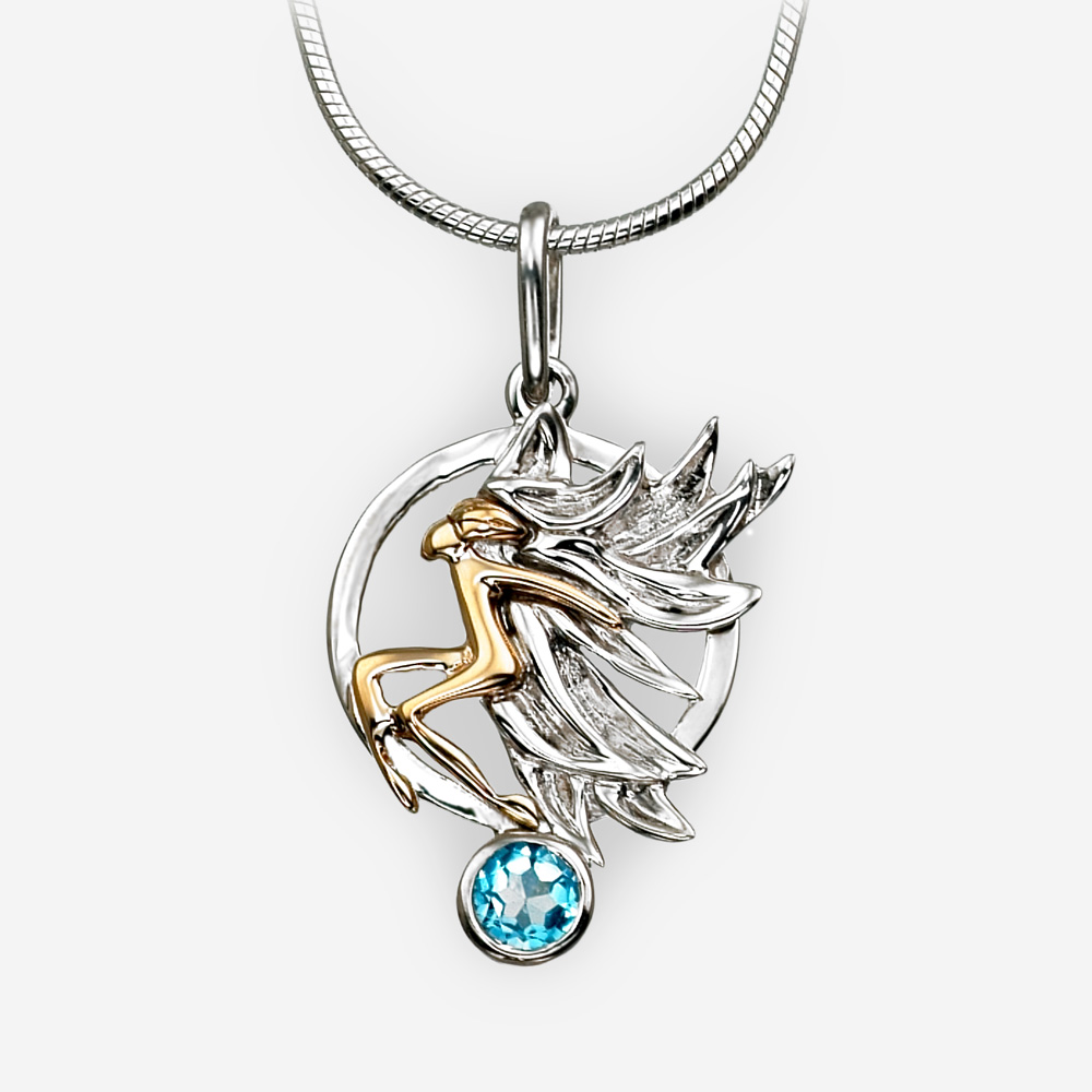 Round golden angel silver pendant crafted from 14k gold and 925 sterling silver with a single blue topaz.