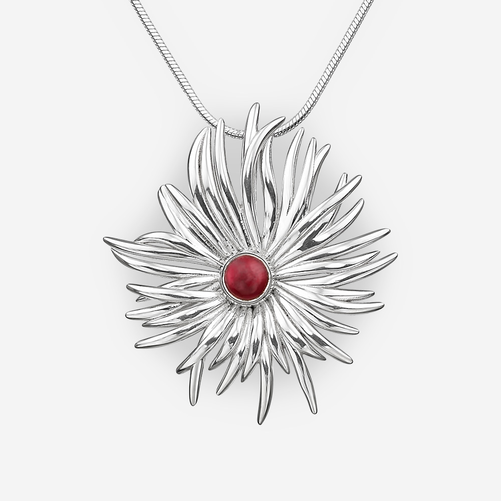 Round Sterling Silver Tribal Pendant with Garnet.