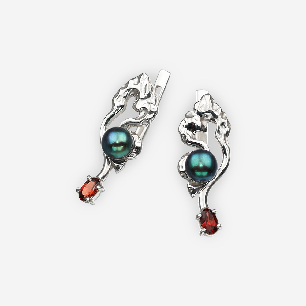 Silver Art Deco earrings with garnet ,black pearls and latch back closure.