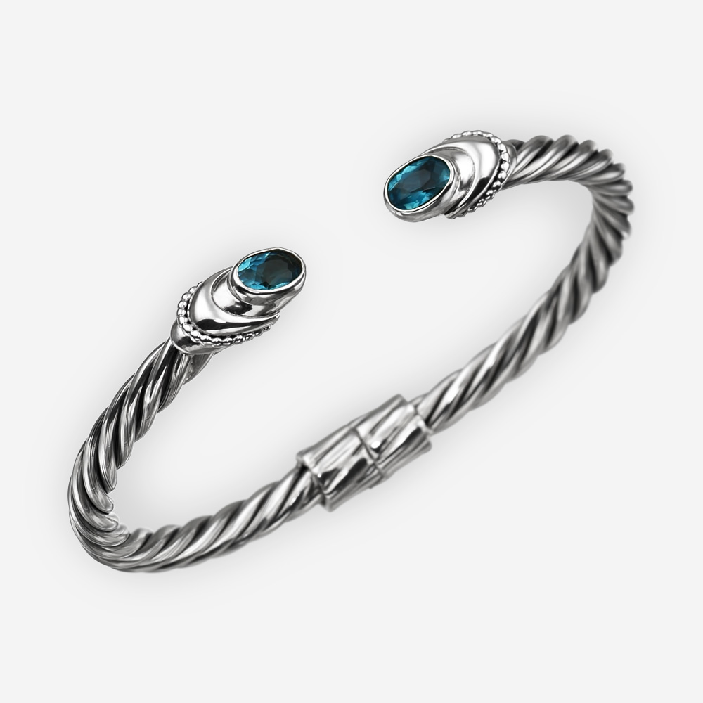 Sterling silver cable bracelet with blue cubic zirconia stones