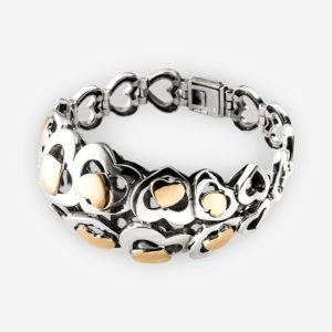 Pulsera de corazones de plata con motivos en formas de corazón de diferentes tamaños en plata de ley y también de oro 14k