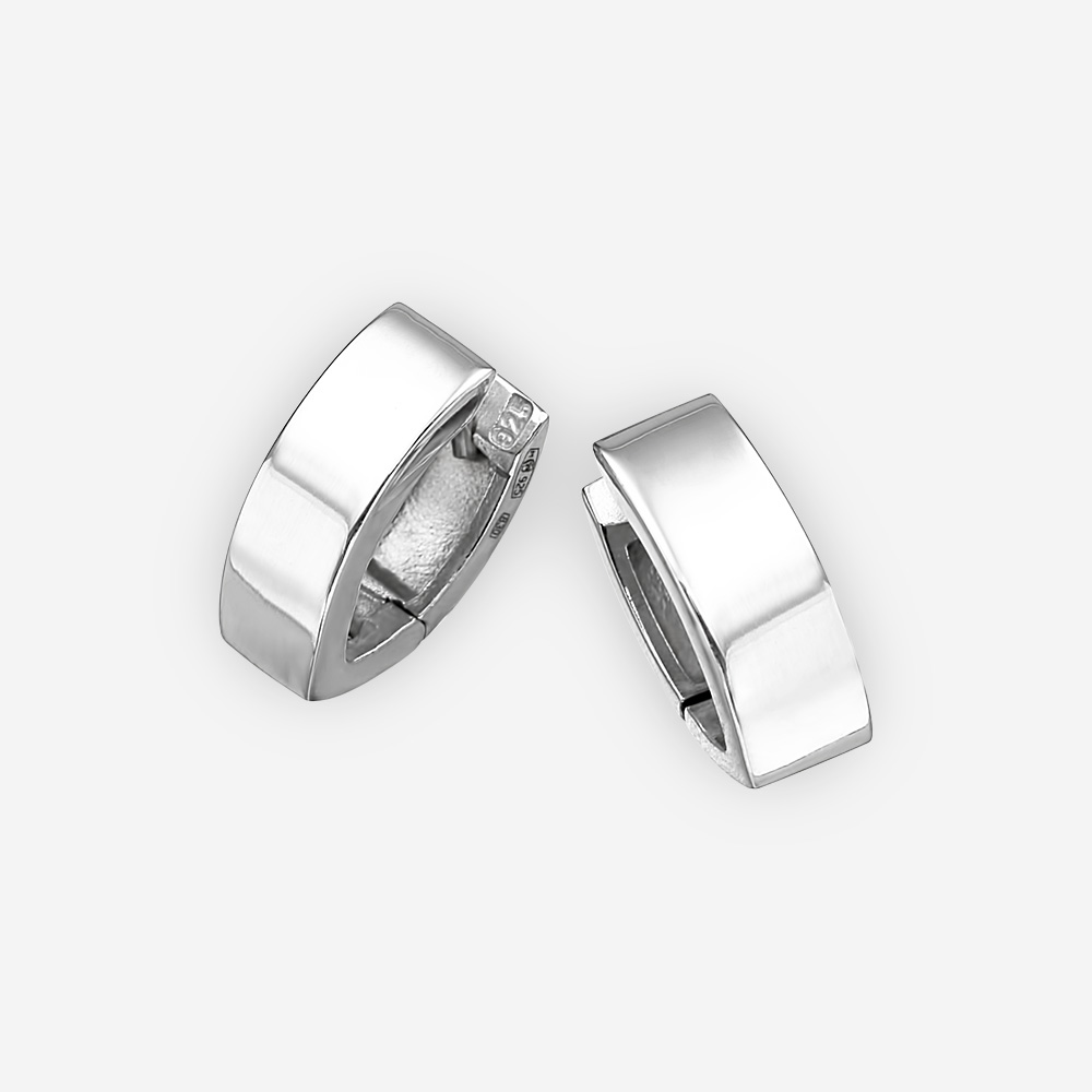 Sleek polished silver earrings made from 925 sterling silver.