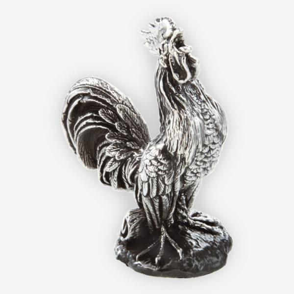 Escultura de Plata de Gallo de granja hecha mediante proceso de electroformado