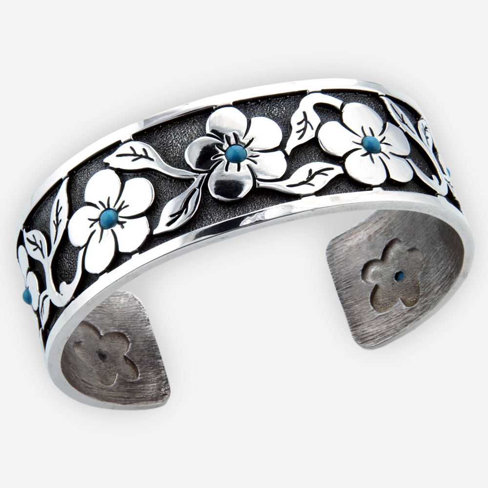 Southwestern floral turquoise silver cuff is crafted from oxidized 925 sterling silver with tiny turquoise cabochons.