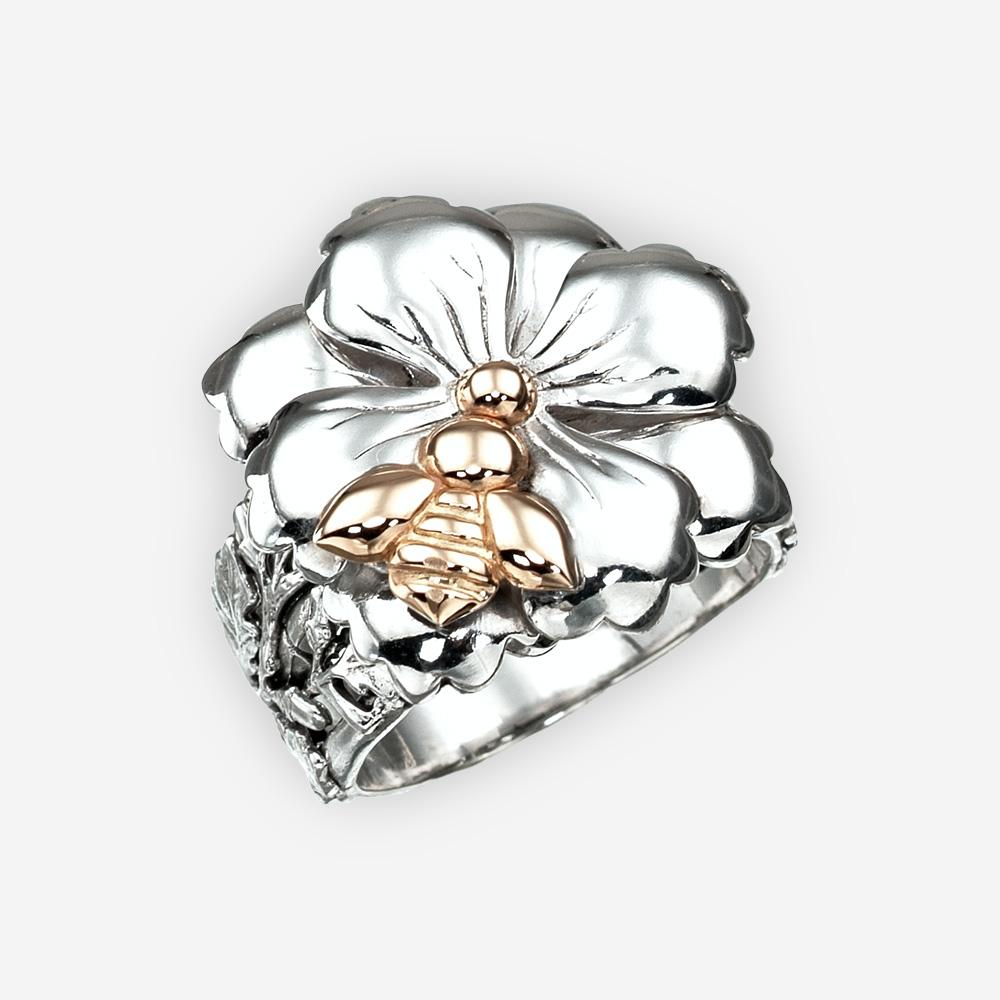 Anillo de plata con abeja de oro de 14k.