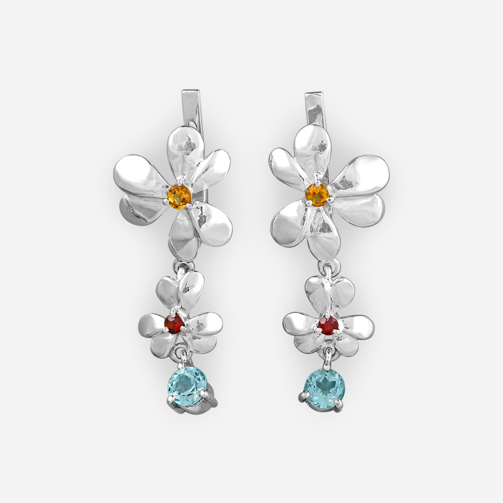 Sterling silver flower drop earrings with citrine, garnet, and blue topaz gemstones.