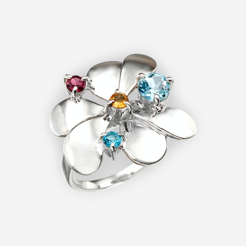 Sterling silver gemstone flower ring featuring citrine, garnet and topaz.