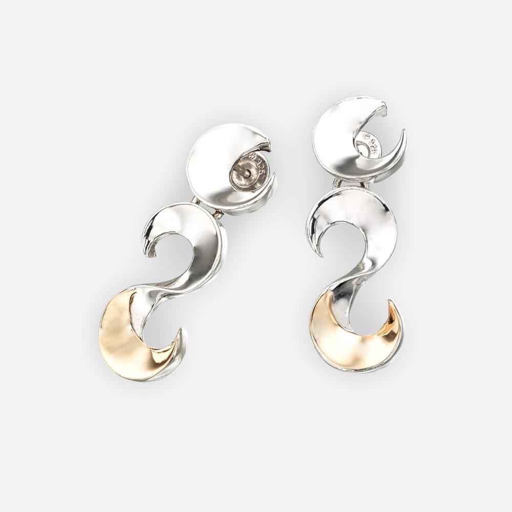 """Polished sterling silver and 14k gold """"S"""" link bracelet."""