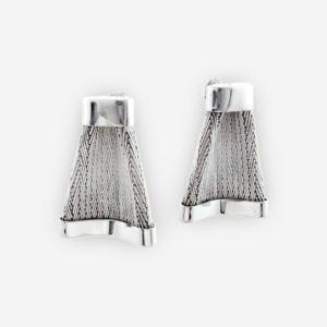 Handwoven Knotted Earrings crafted in Sterling Silver Fabric