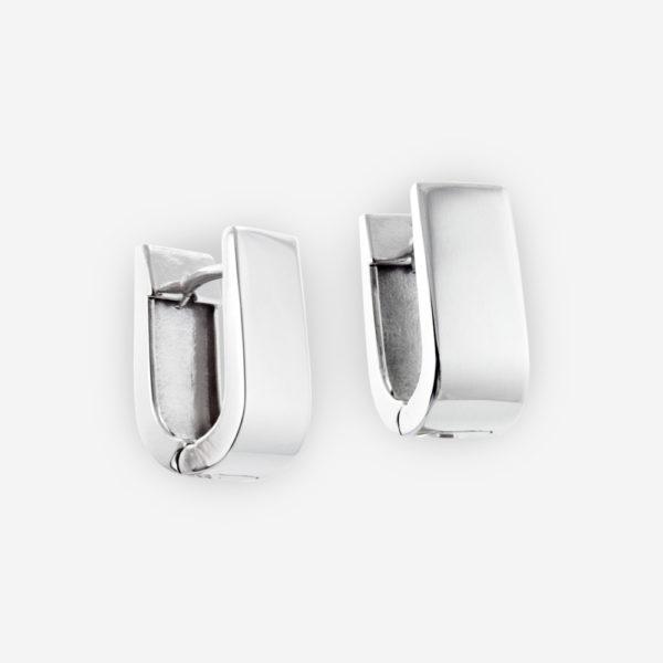 Sterling Silver Huggie Earrings in U-shaped.