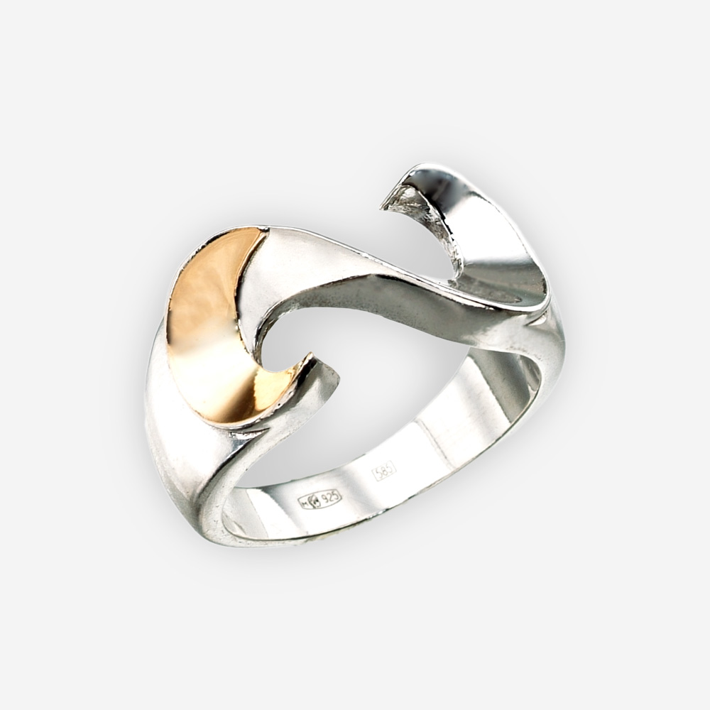 Sterling silver S shaped ring with 14k gold embossed accent and polished finish.