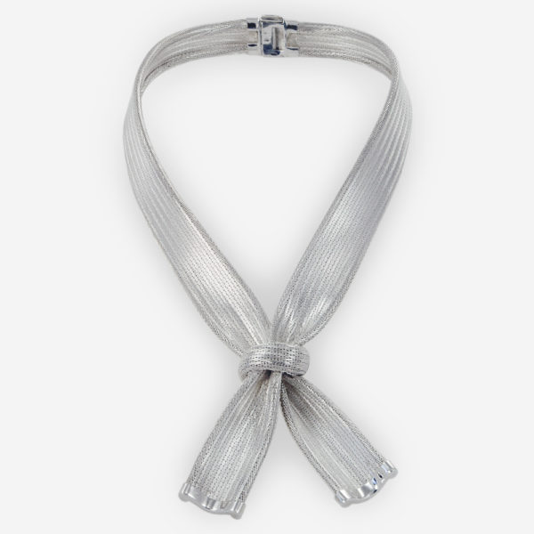 Handwoven Knotted Necklace crafted in Sterling Silver Fabric