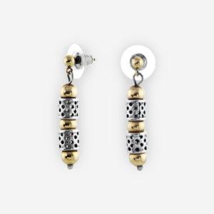 Aretes Yemenitas Armados con Cilíndros de Plata .925 con Grabados Holísticos y con Bits de Gold Filled.