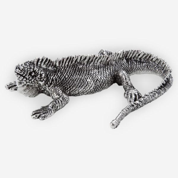 Escultura de Plata de Iguana Tropical hecha mediante proceso de electroformado