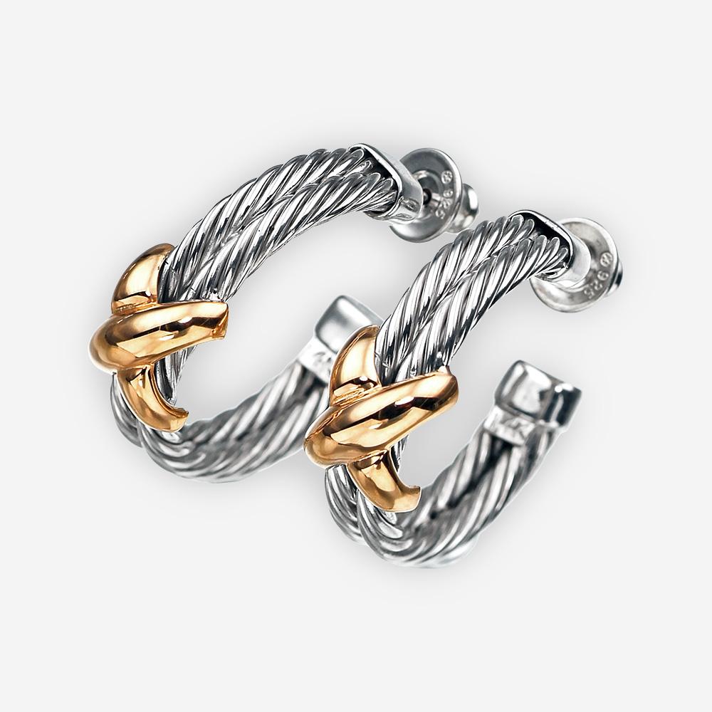 Aretes de cable torzal de plata con oro y con cierre de broche.