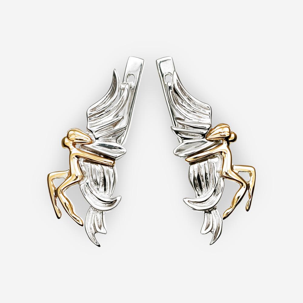 Aretes de dos tonos de plata en forma de ángeles en oro de 14k.