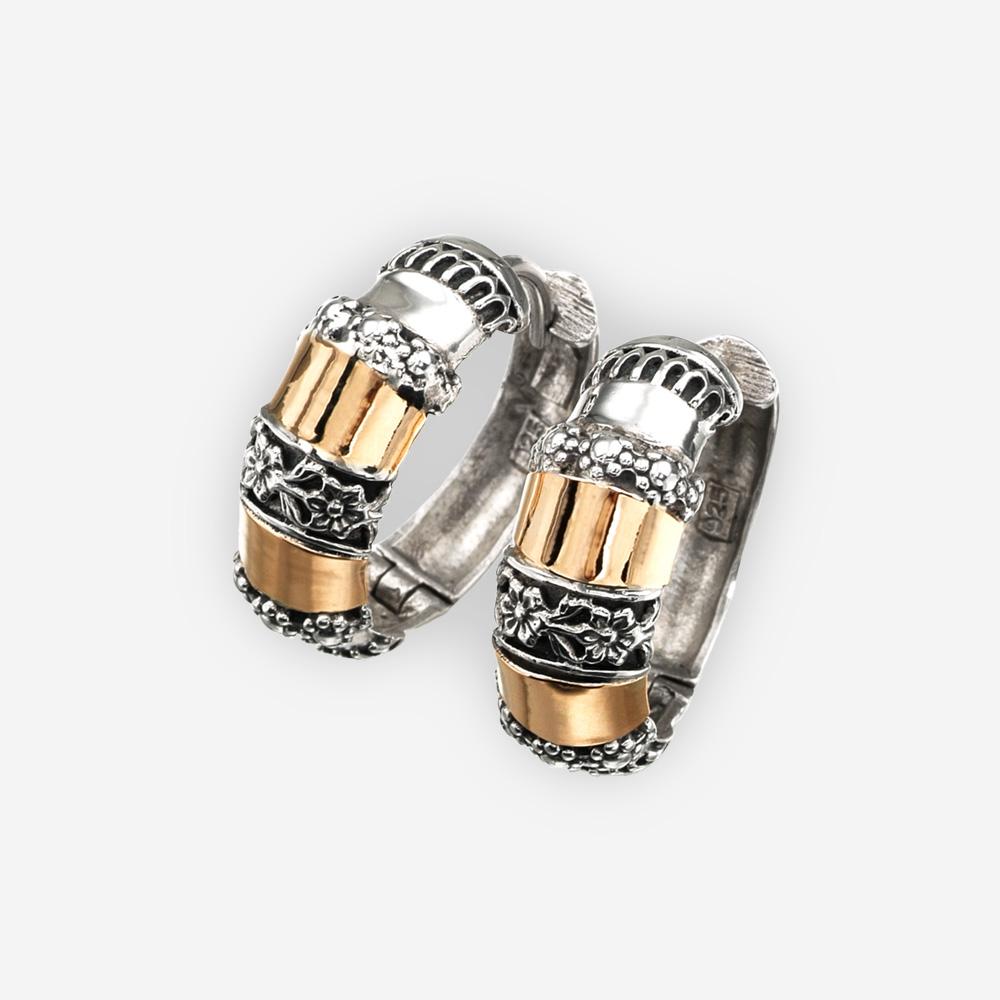 Aretes de aro de plata de dos tonos hechos a mano en plata fina .925 y oro de 14k con cierres huggie.
