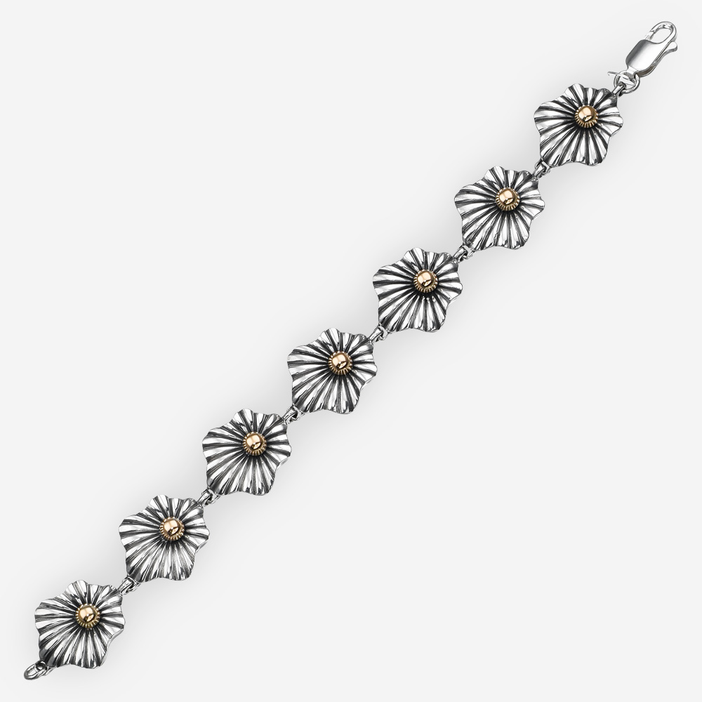 Two tone silver floral link bracelet crafted from 925 sterling silver and 14k gold
