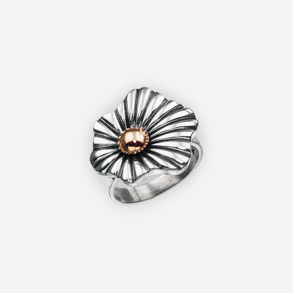 Anillo de plata de dos tonos elegante con una sola flor abstracta y un pistilo del oro 14k.