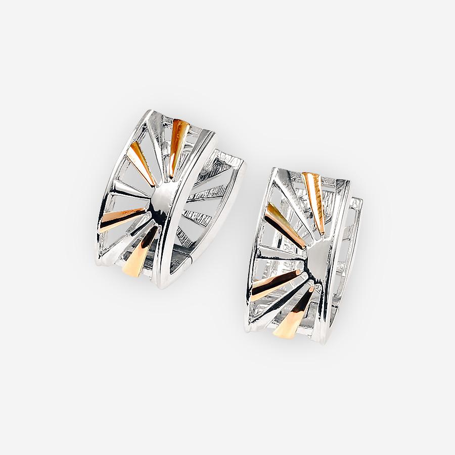 Hermosos aretes de dos tonos de plata con el diseño del amanecer y cierre huggie.