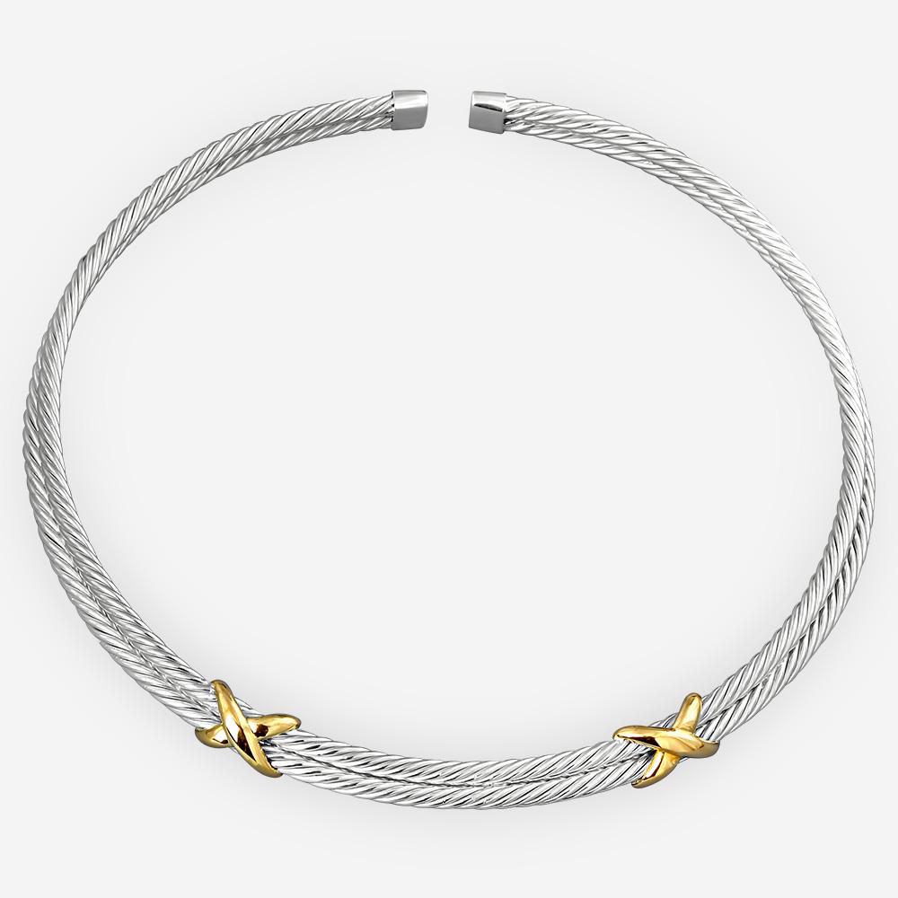 Gargantilla de dos tonos de plata trenzada de cable esculpida de plata .925 y oro de 14k