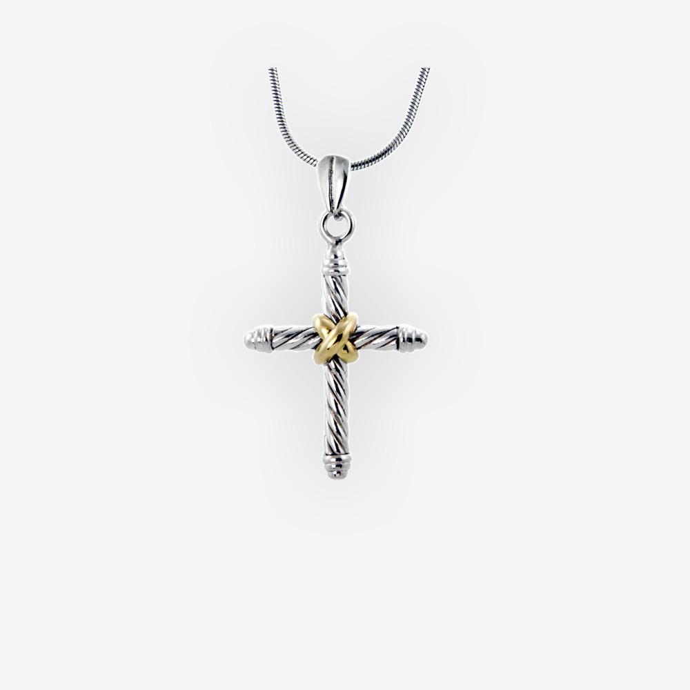 Pendiente de plata de Dos tonos religiosa cuenta con un diseño de cable trenzado de plata y detalle de oro 14k.